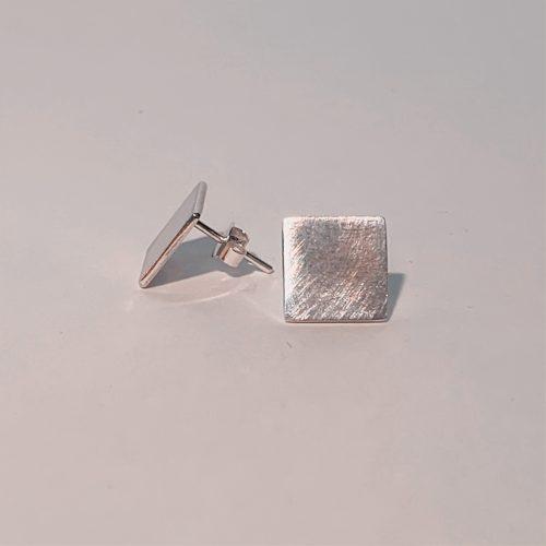 handgemaakte zilveren block oorbellen